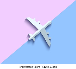 Airplane Vector Icon on Double Colors Background. Flat Lay Aircraft Concept. Vector Illustration. Travel and Transportation Minimal Illustration.