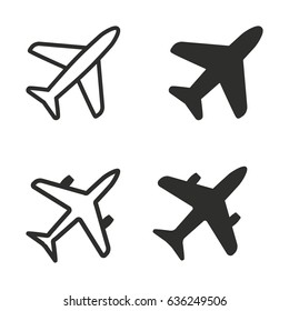 Airplane vector icons set. Illustration isolated for graphic and web design.