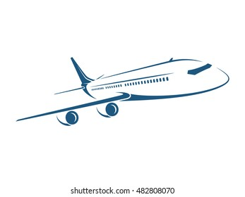 Airplane vector illustration on white background.