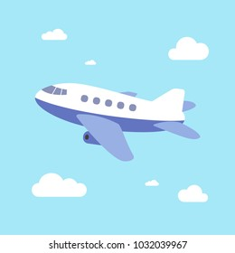 Airplane Vector Illustration, Airplane take off with blue sky background, Cartoon style.