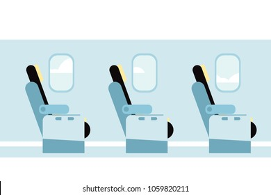 Airplane vector interior. Aircraft indoor cabin chairs seats. Vector illustration.