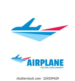 Airplane - vector logo template concept illustration. Minimal classic style. Aircraft silhouette sign for transportation company. Travel agency symbol. Design elements.