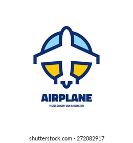 Airplane - vector logo template concept illustration. Aircraft sign for transportation or travel company. Line artwork. Design elements.