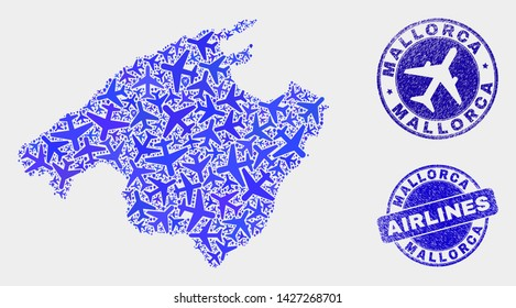 Airplane vector Mallorca map collage and scratched seals. Abstract Mallorca map is constructed from blue flat scattered air plane symbols and map pointers. Shipping scheme in blue colors,