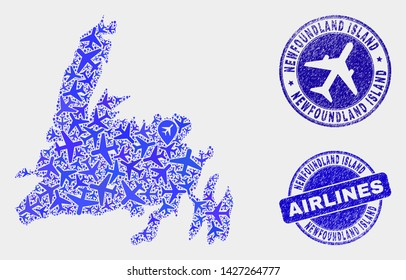 Airplane vector Newfoundland Island map collage and grunge seals. Abstract Newfoundland Island map is organized from blue flat random airplane symbols and map pointers. Flight plan in blue colors,