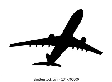 Airplane vector silhouette illustration isolated on white background. Jet plane leaves airport symbol. Aircraft go to destination. Plane shadow.