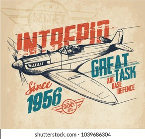 Airplane. Vintage hand drawn tee graphic design. Typography . Stock vector illustration, background.