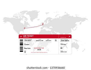 Airplane way. World map with ticket