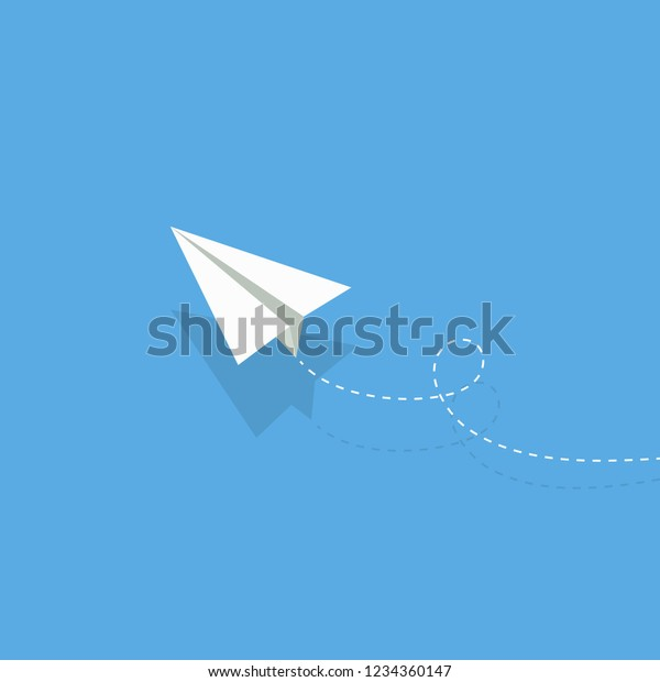airplane. white paper airplane with shadow. airplane on a blue background