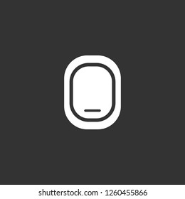 Airplane Window Closed icon vector. Airplane Window Closed sign on black background. Airplane Window Closed icon for web and app