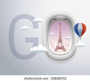 Airplane Window, Exclusive,Travel, Eiffel Tower, Paris