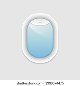 Airplane window inside view. Vector porthole with transparent glass. Aircraft window template isolated.