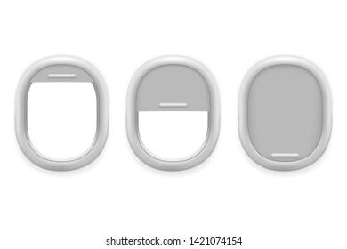 Airplane window inside white plastic open realistic plane technology design template vector illustration