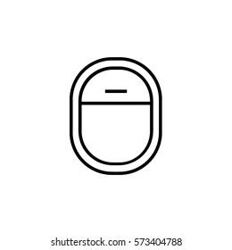 Airplane window opened line icon
