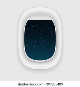 Airplane window, or a porthole, at night. Star sky view. Long journey concept.