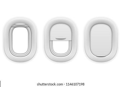 airplane window porthole stock vector illustration isolated on white background
