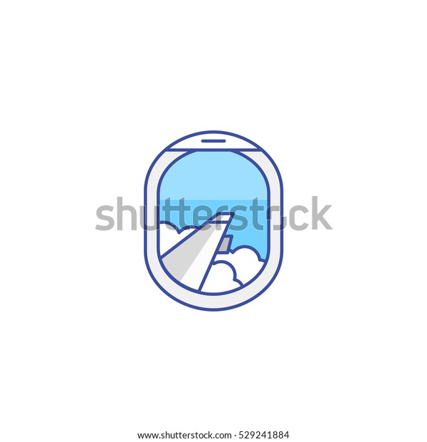 Airplane Window View Icon Flight Travel Stock Vector Royalty Free