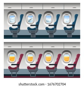 Airplane window view vector illustration. Cartoon interior inside, seats in row in plane cabin, trip viewing through porthole on cloudy blue sky landscape or desert scenery with camels. Travel concept