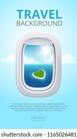 Airplane window views. Closeup portholes business aircraft blue clean shine sky air. Travel vector realistic background illustration. Airplane porthole, transportation tourism flight, sky travelling