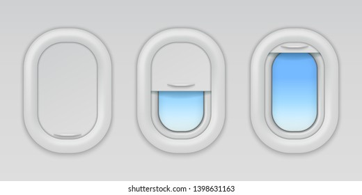 Airplane windows. Aircraft portholes with blue sky and fuselage background, vector open closed and half closed types of plane window in wall aeroplane