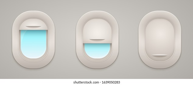 Airplane windows with open and closed curtains view inside and out, empty space. Porthole of airliner.