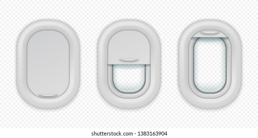 Airplane windows. Realistic aircraft porthole in different positions, open closed and half closed. Vector illuminations isolated design template