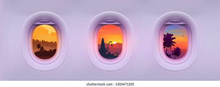 Airplane windows with tropical Bali island landmarks and palm trees colorful views. Editable vector illustration for banners and posters.