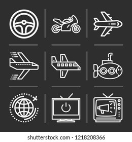 Airplane, world, aeroplane, televisions, submarine, motorcycle, television icon set suitable for info graphics, websites and print media and interfaces