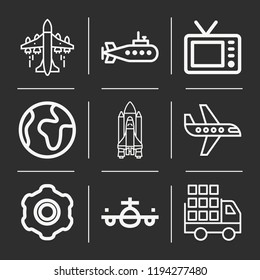 Airplane, world, submarine, delivery truck, launching shuttle, gear icon set suitable for info graphics, websites and print media and interfaces