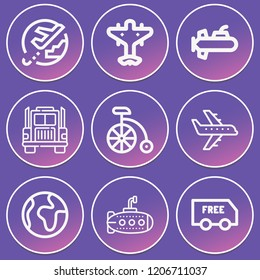 Airplane, world, submarine, truck, delivery, bike icon set suitable for info graphics, websites and print media and interfaces