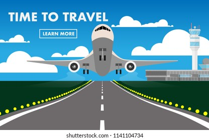 "The airplane(plane) is taking off from the airport in day time with airport terminal,air traffic control(ATC),runway and text ""Time To Travel"" for wallpaper,background,backdrop"