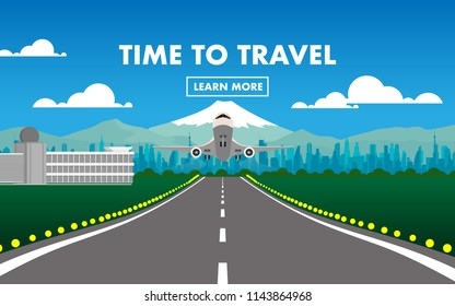 "The airplane(plane) is taking off from the airport in with view of city,Fuji mountain,airport terminal,air traffic control(ATC),runway and text""Time To Travel""for wallpaper,background,backdrop"