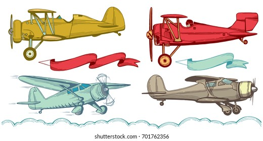 Airplanes, advertising banners and clouds. Hand drawn illustration set.