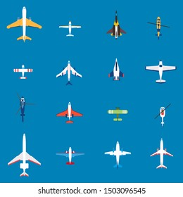 Airplanes, aircrafts and helicopters set. Air transportation design elements. Top view of plane, vector illustration