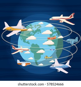 Airplanes around the world concept. Cartoon illustration of airplanes around the world vector concept for web
