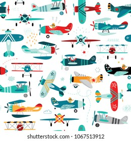 airplanes boys seamless pattern