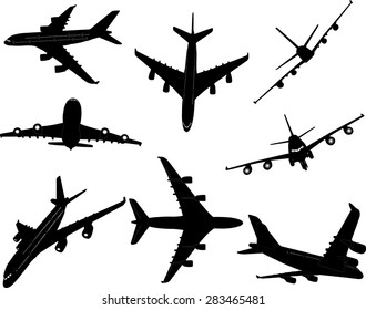 airplanes bw 2 vector silhouette