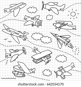 airplanes doodle set