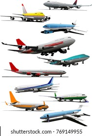 Airplanes models collection realistic colored design