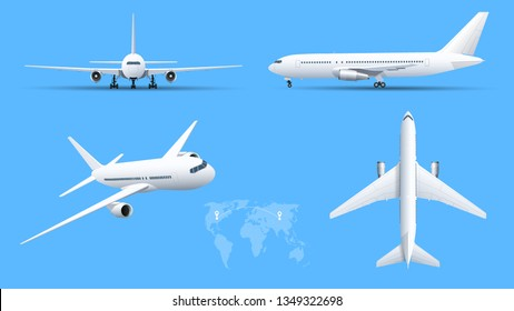 Airplanes on blue background. Industrial blueprint of airplane. Airliner in top, side, front view. Flat style vector illustration.