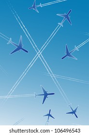 Airplanes on blue background with white lines. Isolated design element. Stylized vector illustration.