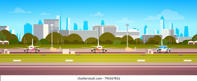 Airplanes Over Airport Building, Modern Terminal With Plane On Runway Waiting For Take Off Modern City Background Flat Vector Illustration