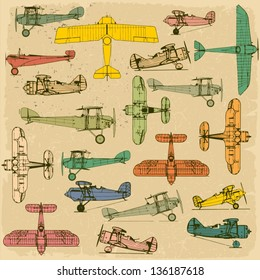 Airplanes. Retro seamless pattern   on vintage old paper. Plus three objects  cracked surface. Grunge effects can be removed.