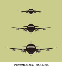 Airplanes silhouette front view, jet aircraft plane icon - vector