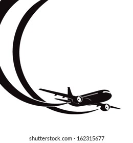 Airplane's silhouette on white background with place for text. EPS10 vector.