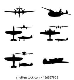 Airplanes silhouette set.