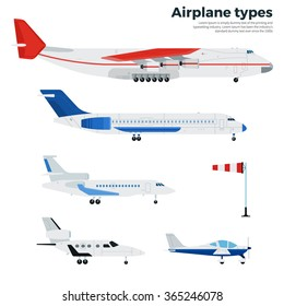 Airplanes vector flat illustrations. Different modern airplanes. Icons for airline companies banners. Several types of modern aircrafts isolated on white background