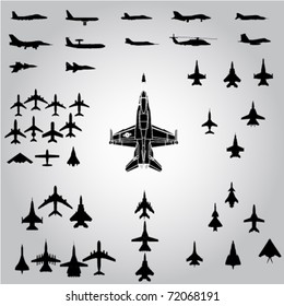 airplanes,military airplanes collection - vector