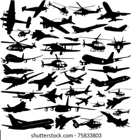 airplanes,military airplanes,helicopter collection - vector