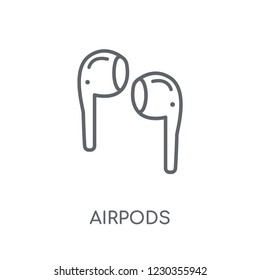 Airpods linear icon. Modern outline Airpods logo concept on white background from Internet Security and Networking collection. Suitable for use on web apps, mobile apps and print media.